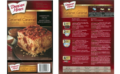 recalled Duncan Hines Apple Caramel cake mix