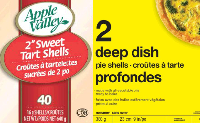 recalled CFIA tart shells